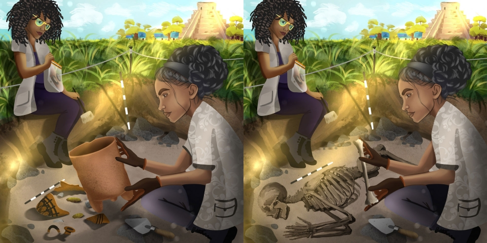 illustrations of two different anthropology scenarios
