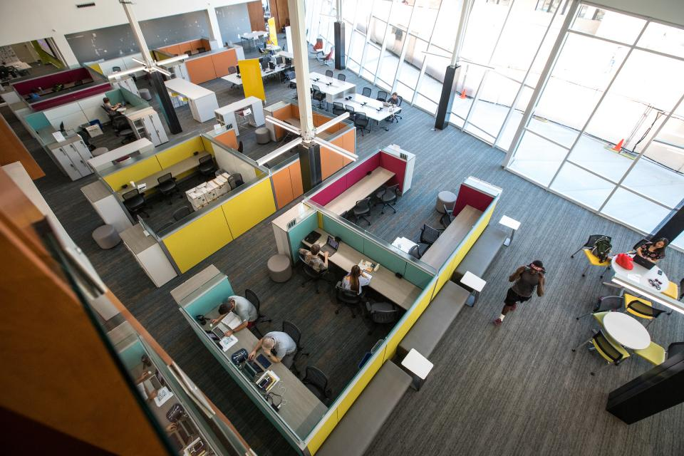 Aerial view of cubicles in the new English Department building