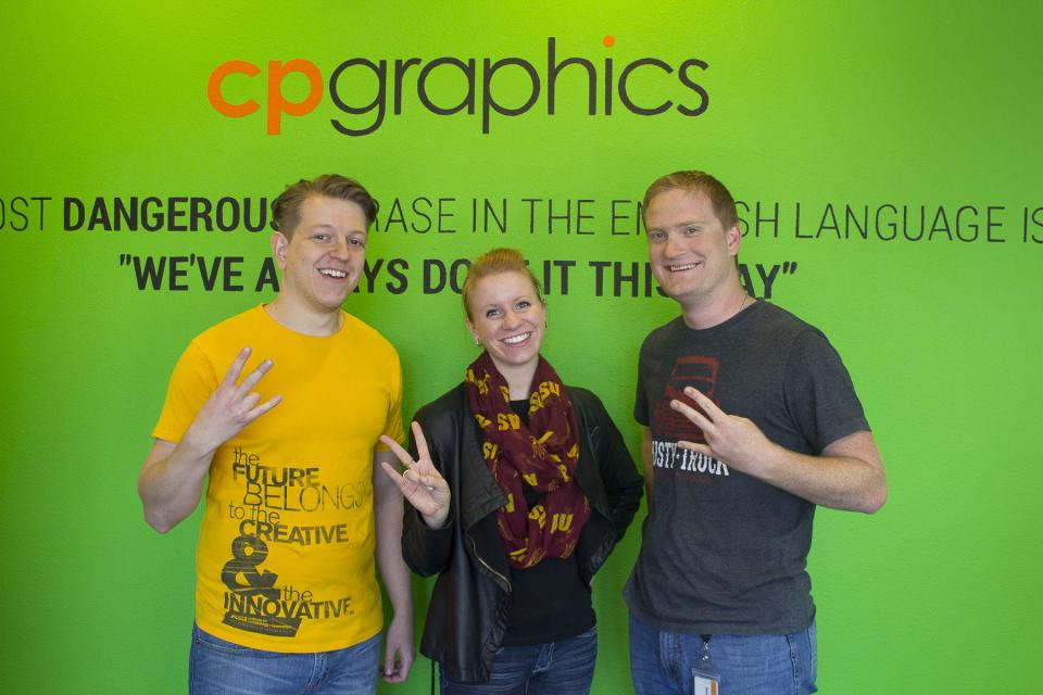 Three ASU alums at CP Graphics in Tucson.