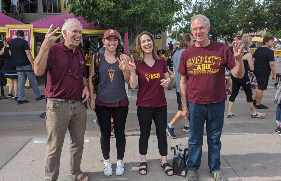 ASU parent Suzanne Allen poses with her family members during Family Weekend 2019.