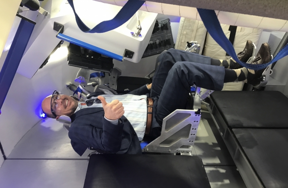 ASU Professor Greg Autry trying out the Boeing CST-100 Dreamliner at the Kennedy Space Center, February 2017.