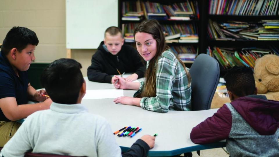 Claire McHale is one of three student teachers who, together, fill the role of a certified teacher.