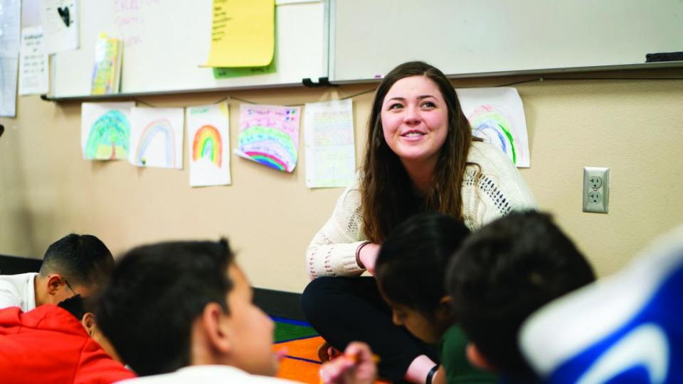 Wendy Wyatt conducts a lesson for third grade pupils at Copper Trails School in Avondale, Arizona. Copper Trails School pays Wyatt and her co-teachers for student teaching.