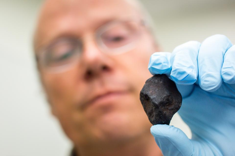 ASU research professor Laurence Garvie holds a newly found meteorite.