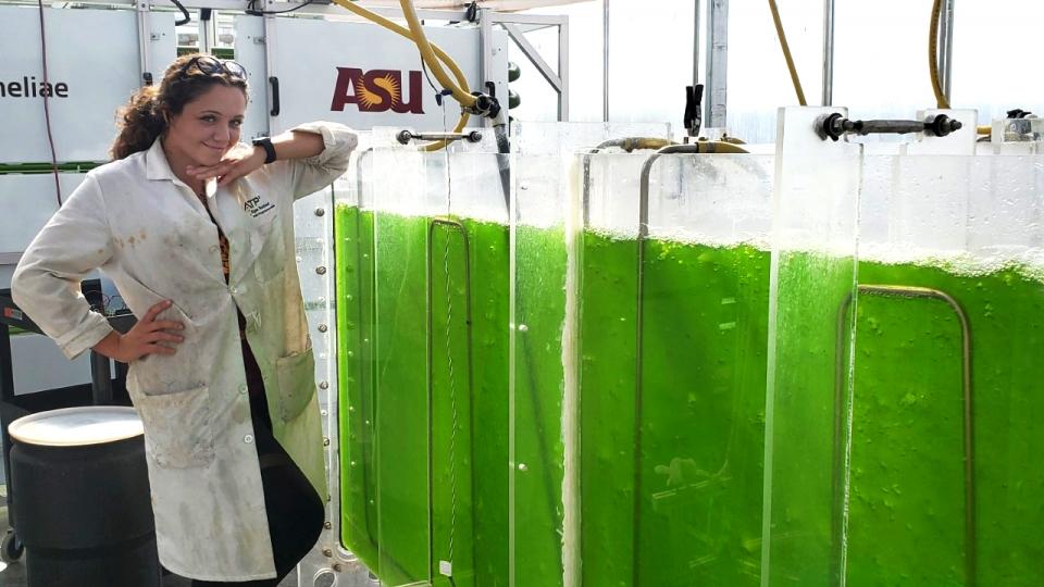 woman posing next to algae tanks