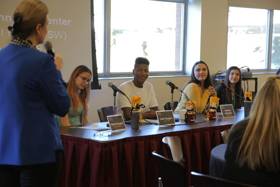 Bridging Success student panelists and Professor Lietz