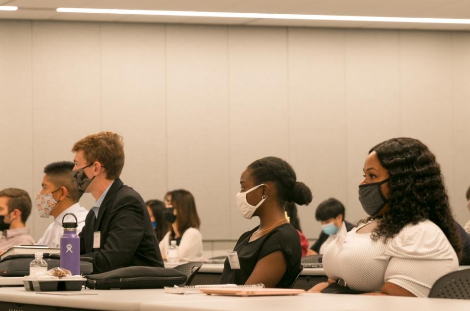 Photo of ASU Law Advance Program students listening to Professor Amy Langenfeld