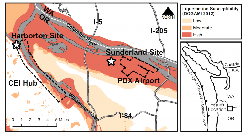 Project sites map for Portland area geotechnical earthquake engineering project