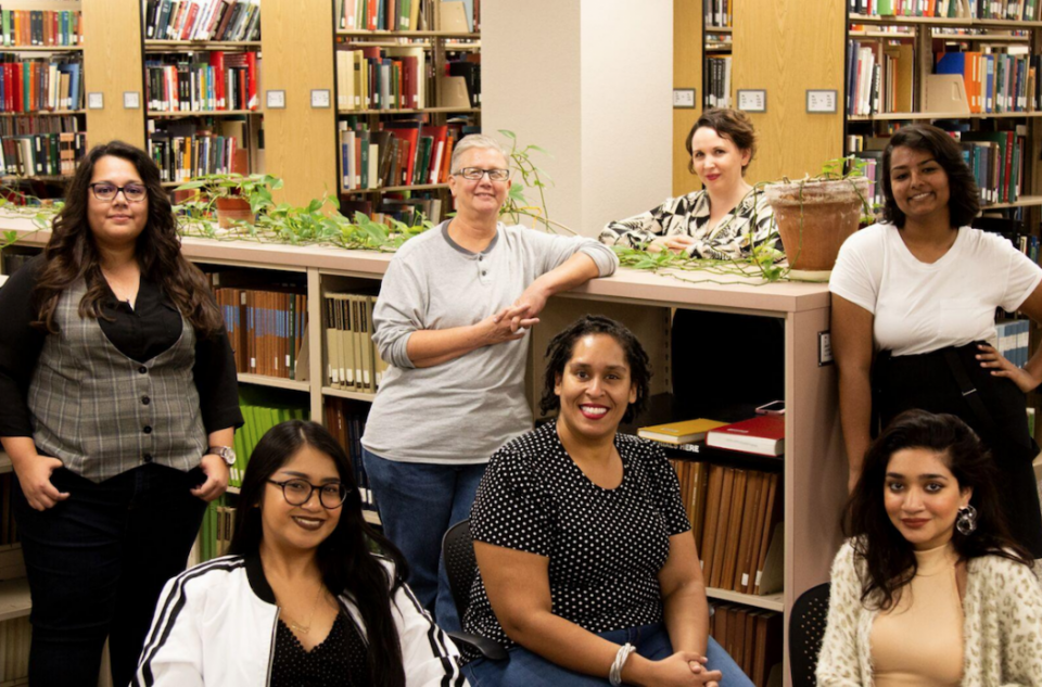 The Community-Driven Archives team poses for a group photo in the Music Library