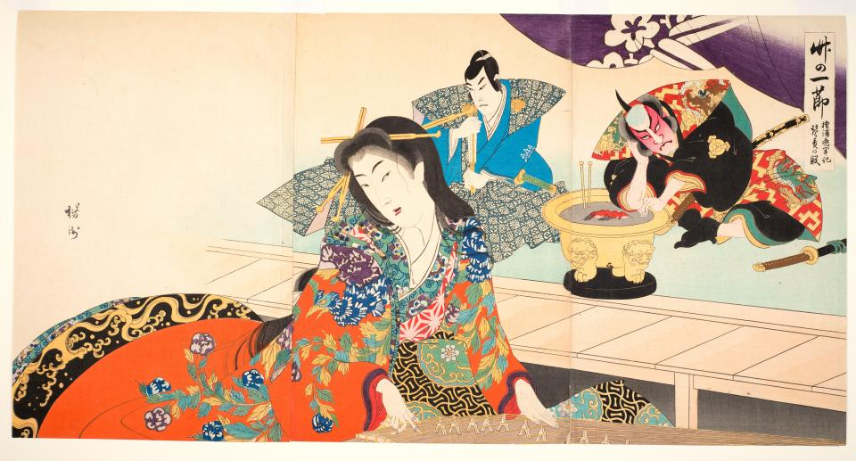 Toyohara Chikanobu, Chronicle of the Dan-no-ura Helmet: Torturing a captive courtesan, Akoya, by making her play the koto (a Japanese musical instrument), dated 1898, woodblock print, ASU Art Museum, gift of Drs. Thomas and Martha Carter.