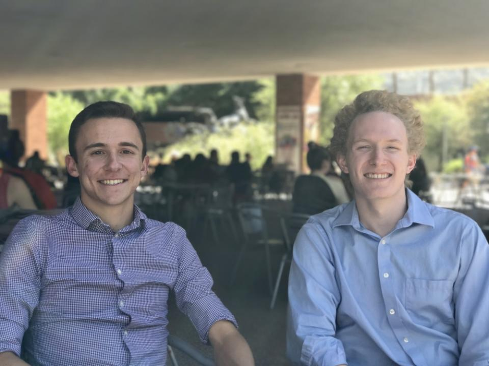 physics and economics major Jonathon Barkl and computer science major Scott Fitsimones