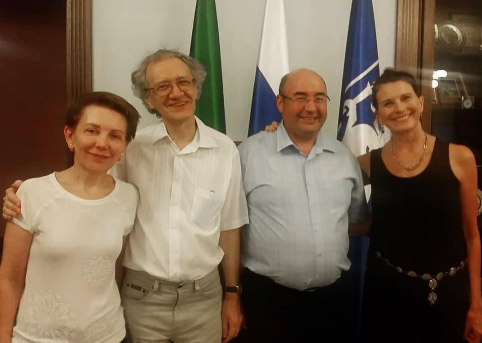 [From left] Kazan Federal University professors Marina Solnyshkina, Valeriy Solovyev and Radif Zamaletdinov pose with Danielle McNamara, a professor in The College's Department of Psychology who sent over two weeks in Russia conducting literacy tools trai