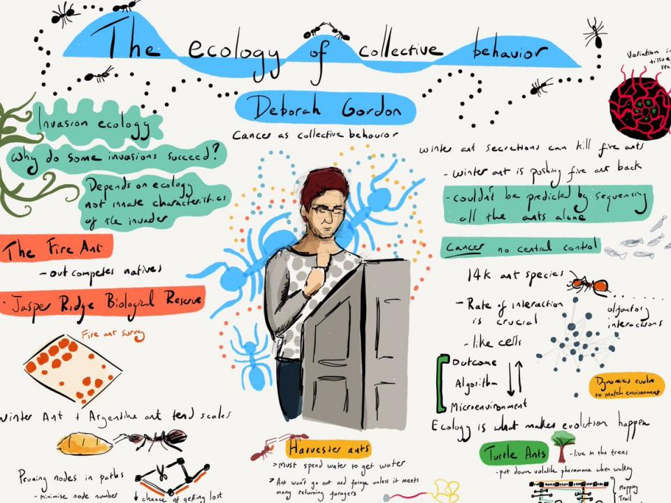 Illustration of a woman speaking at a cancer conference
