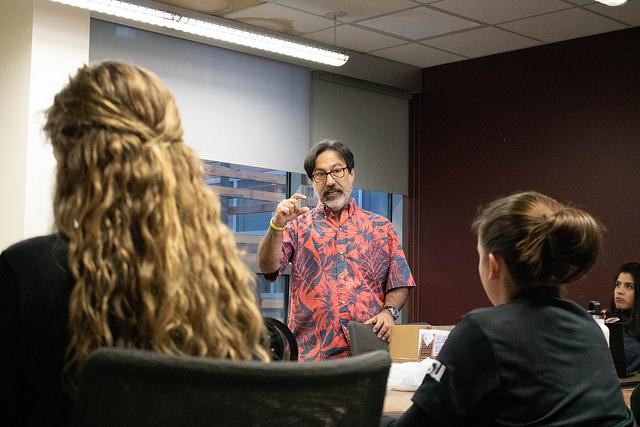 Fredi Lajvardi talks to the ASU women's underwater robotics team