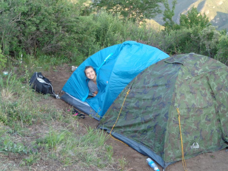 ASU student Diana Serban in tent at Great Wall of China