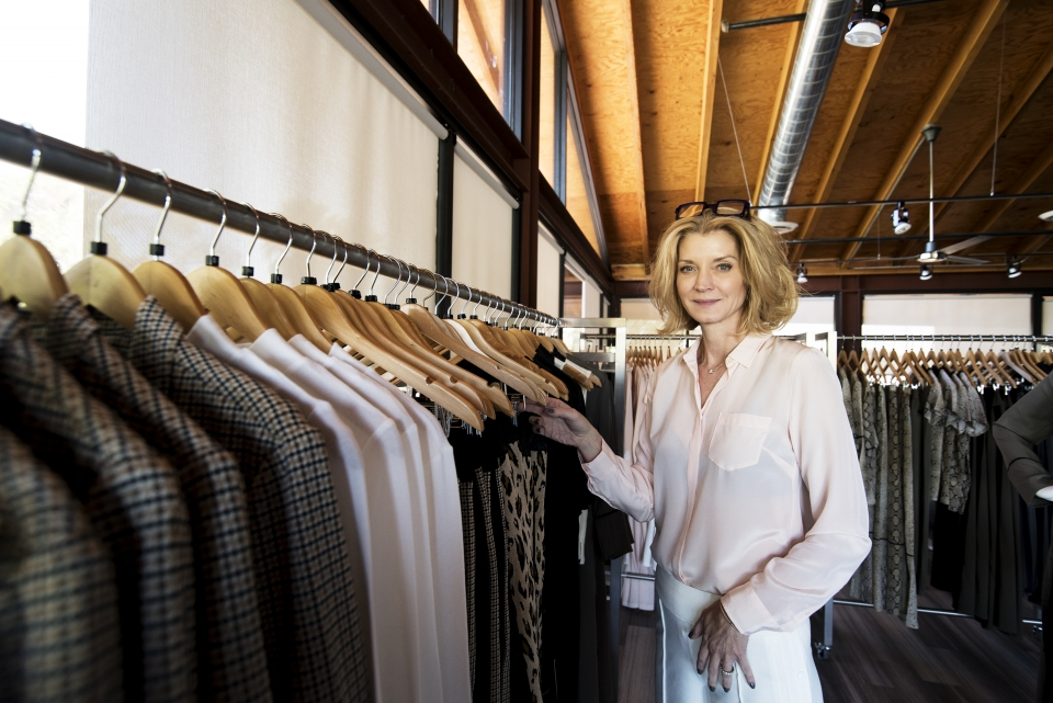 ASU alumna Cheryl Najafi in the Phoenix showroom of her clothing label, The Cause Collection.