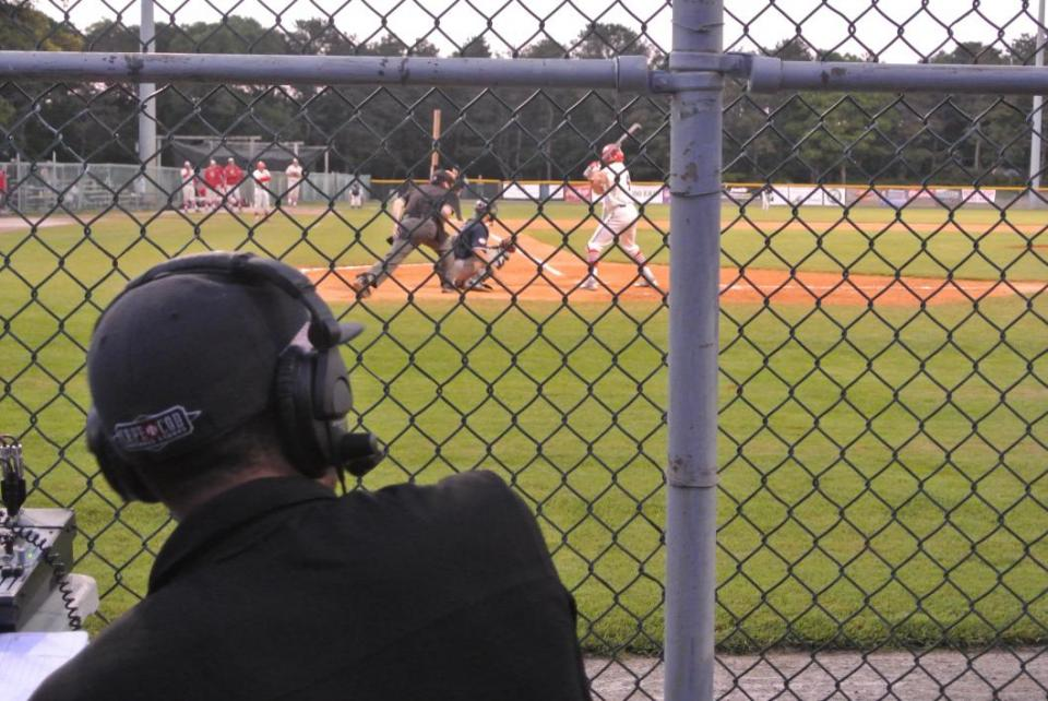 Cronkite School broadcast student Andre Simms works a game at the Cape Cod Baseball League.
