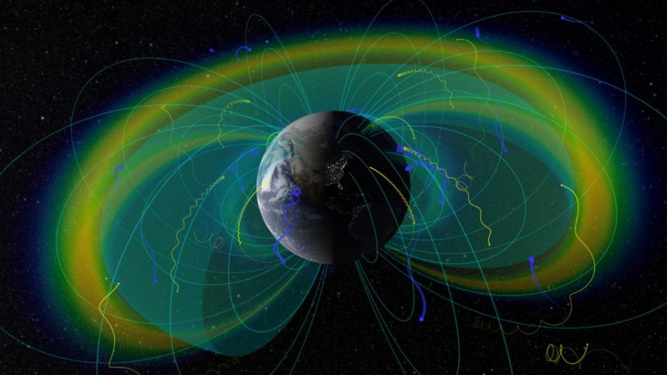 illustration of radial lines coming out of Earth