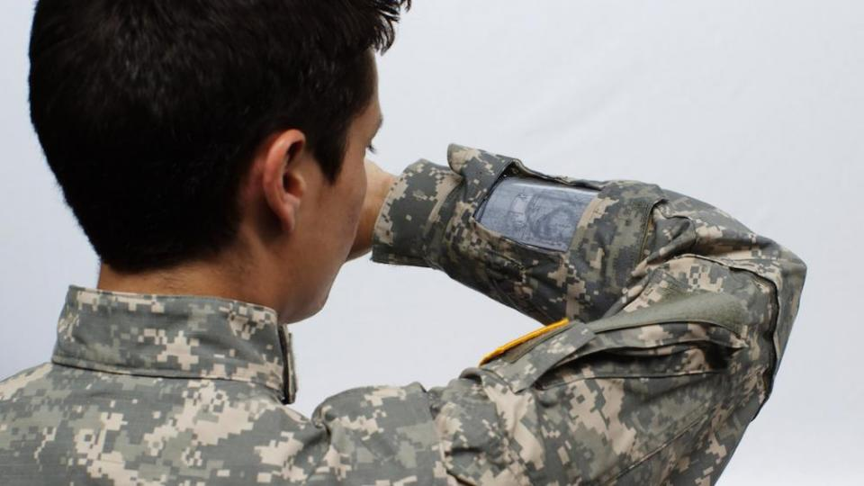 Flexible display in Army jacket
