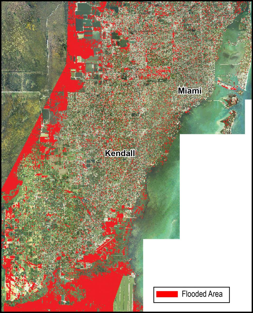 A map showing areas flooded in Florida after Hurricane Irma