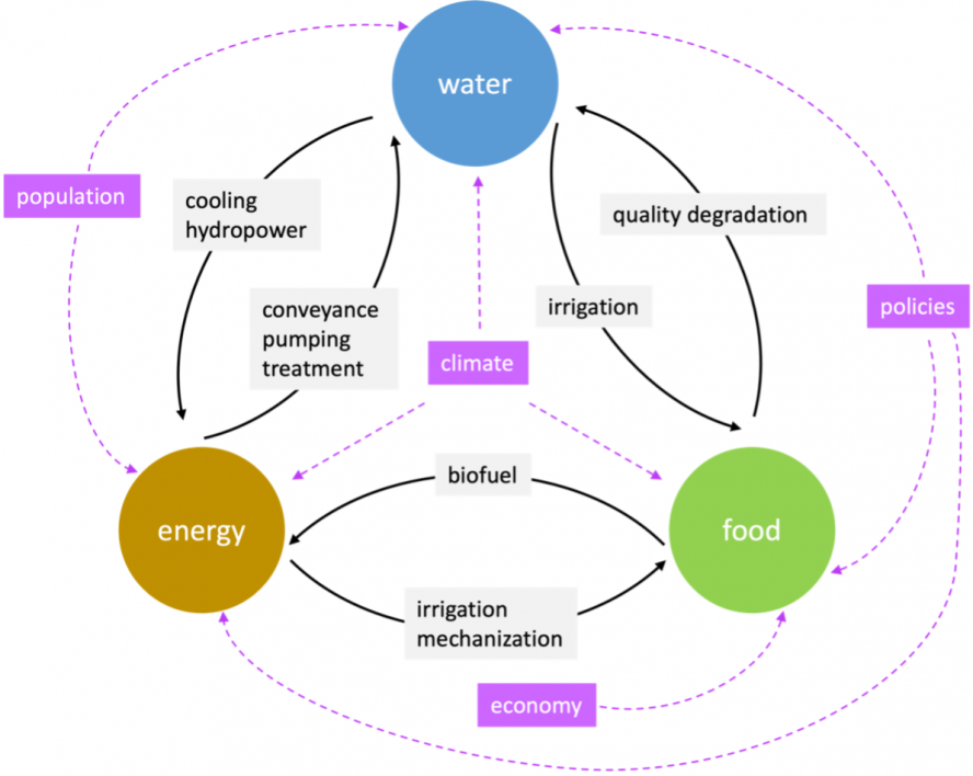 A graphic of the food-energy-water nexus