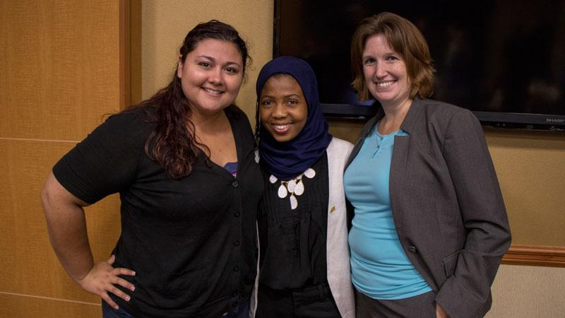 Coordinator Senior for Undergraduate Student Engagement Jade Silva, recent biomedical engineering graduate Mariama Salifu and Lecturer and Director of the ASU Grand Challenge Scholars Program Amy Trowbridge. Photographer: Marco-Alexis Chaira/ASU