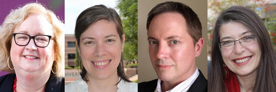 Image of health humanities panel experts: Cora Fox, Annika Mann, Matthew Prior, and Tamara Underiner.