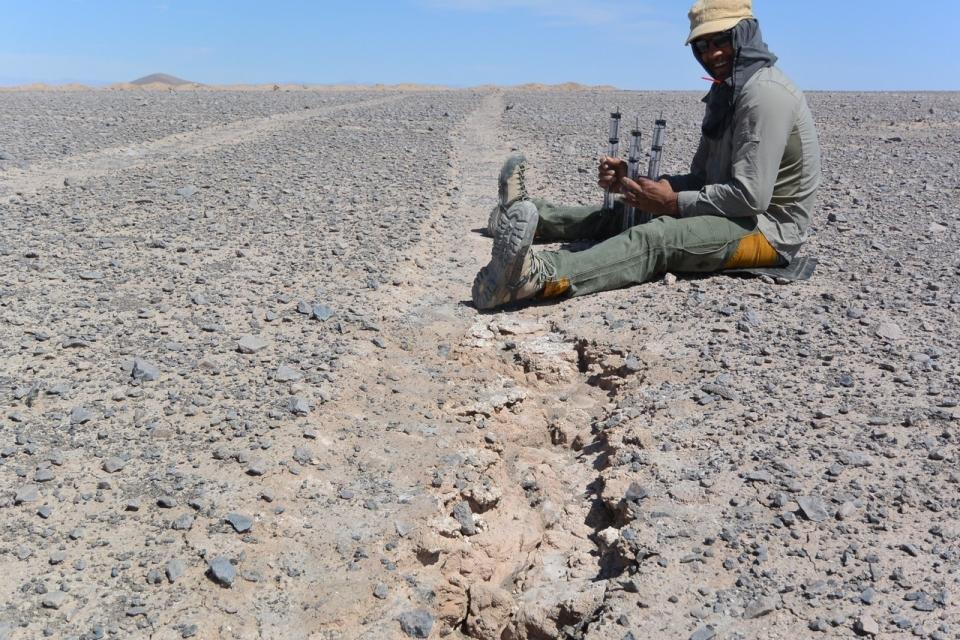 Geologist Arjun Heimseth in Atacama Desert,Chile