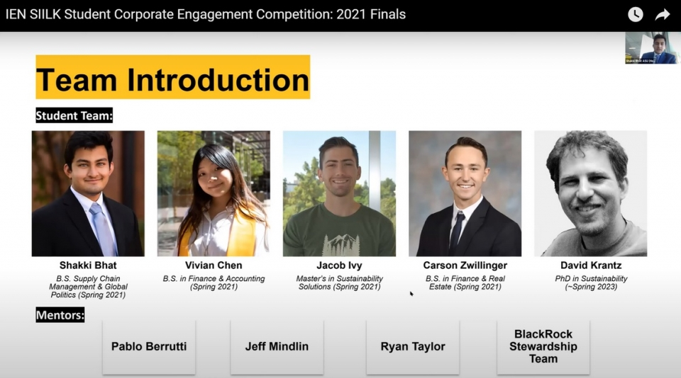 headshots of members of the IEN SILK Student Corporate Engagement Competition winning team