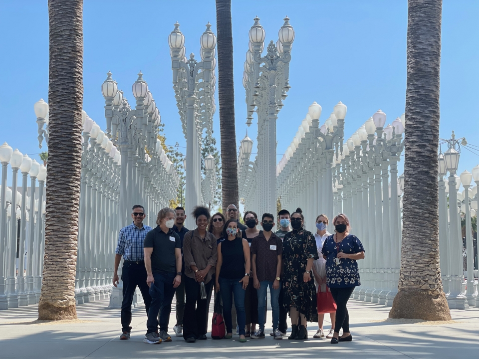 ASU graduate students pose for a group photo outside of the Los Angeles County Museum of Art.