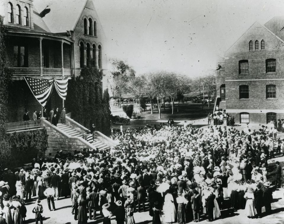 Former president Theodore Roosevelt speaking at Old Main, ASU 1911