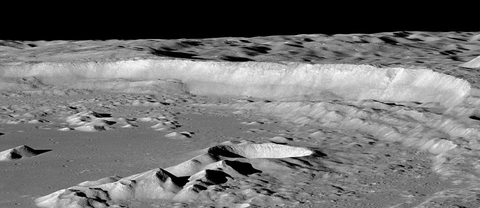 Antoniadi crater wall on the moon.
