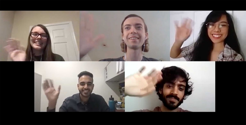 Five students wave on a Zoom collage