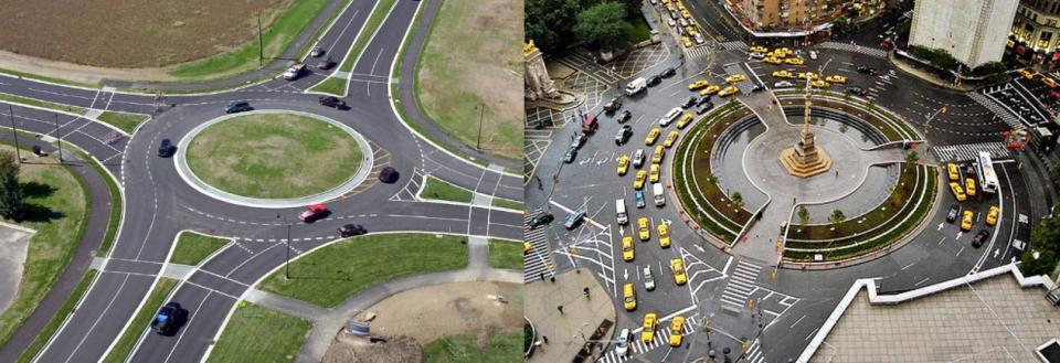 Modern roundabouts (left) are the newest traffic control system on our roadways, and smaller than older rotaries or traffic circles (right).