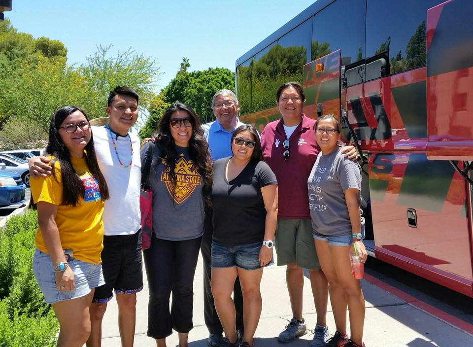 Group ready to leave on bus for Havasupai.