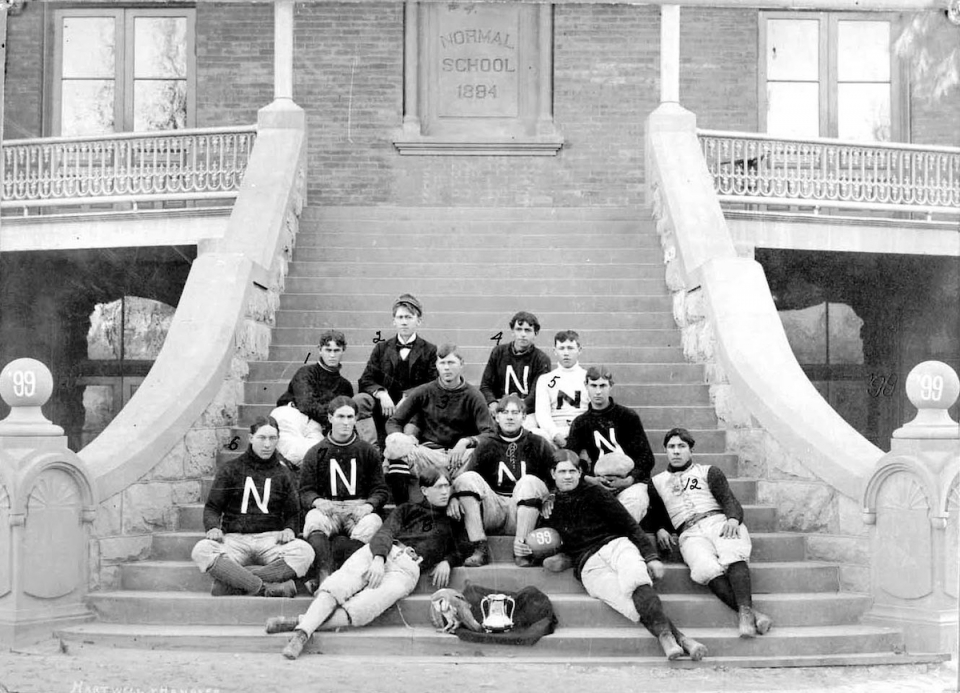 The 1899 Territorial Cup winning Tempe Normal School Football team portrait is on the steps of Old Main. Photo courtesy of the ASU Library