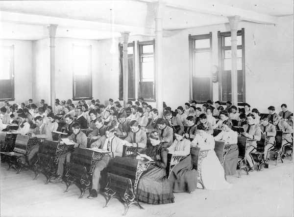 Undated photo of a classroom in Old Main. Courtesy of ASU Library