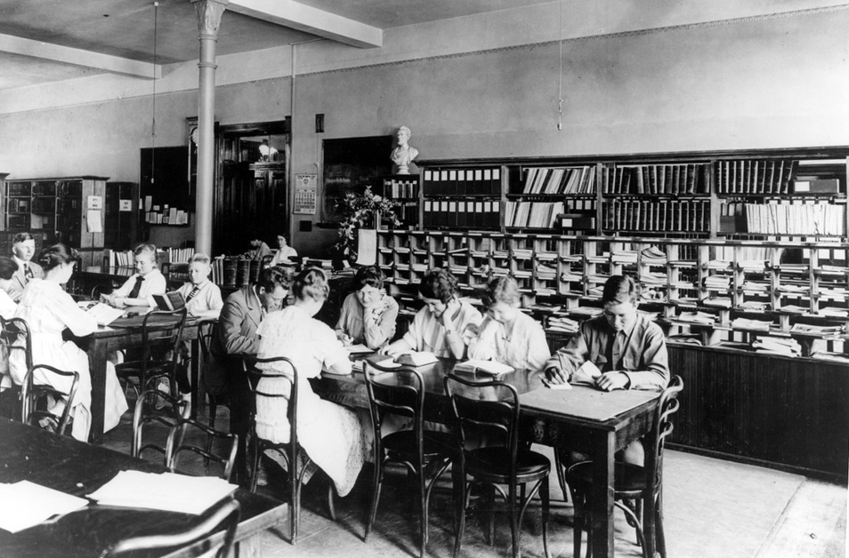 Undated photo of a study hall in Old Main. Courtesy of ASU Library