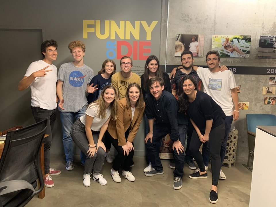 Paul Bukowsky (far left in white t-shirt) and fellow Funny or Die interns mug for the camera. Courtesy photo.