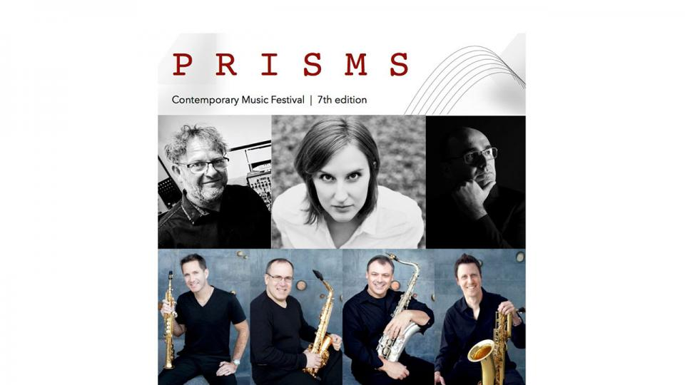 Text says Prisms Contemporary Music Festival 7th edition. Images are of seven musicians, six men and one woman.