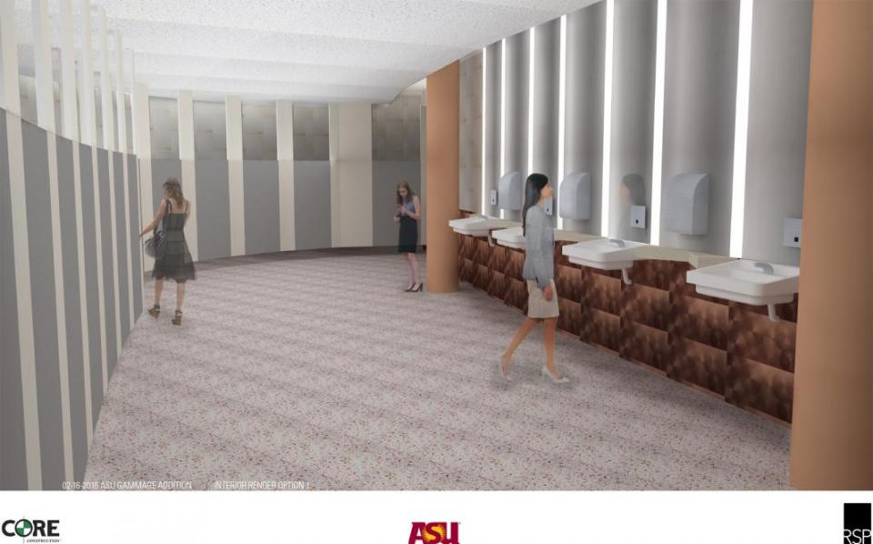 Rendering of upgraded restrooms at ASU Gammage