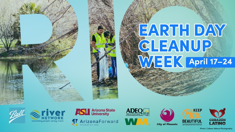 Flyer advertising Rio Earth Day Cleanup Week on April 17 through 24, with a list of sponsor logos