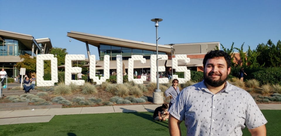 Electrical engineering alumnus Samuel Perez Diarte attends a Microsoft Devices team event.