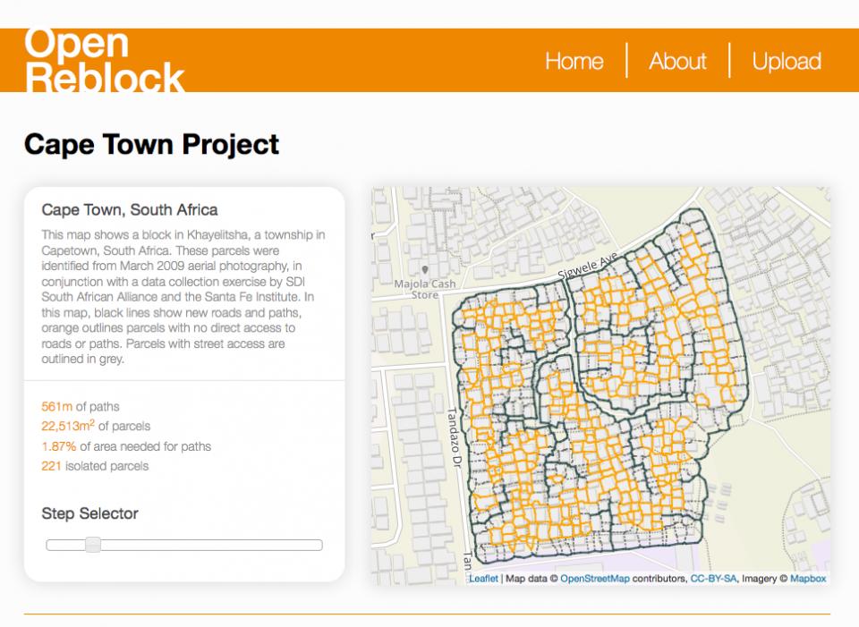 A screenshot of a website with a map of an urban slum.