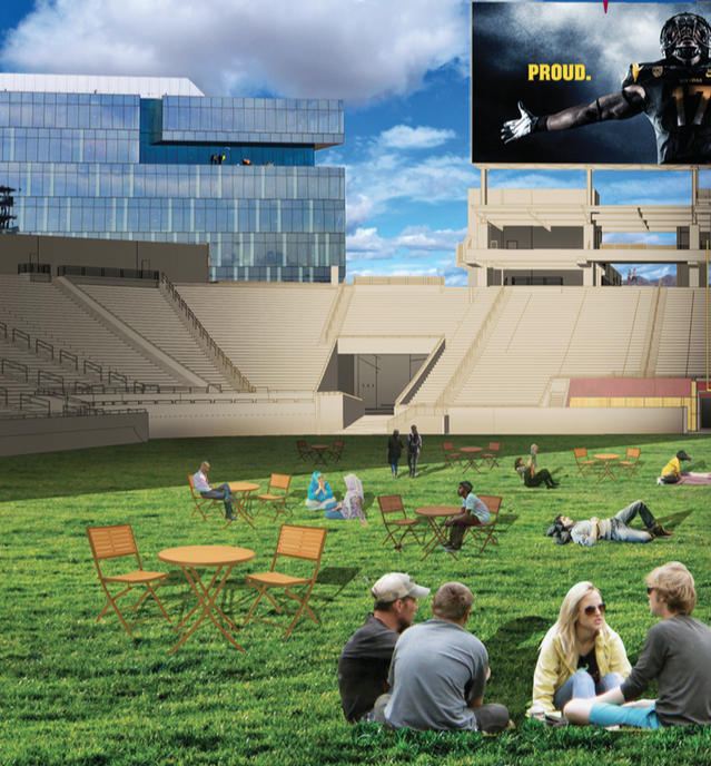 A student team's idea of creative use of Sun Devil Stadium.
