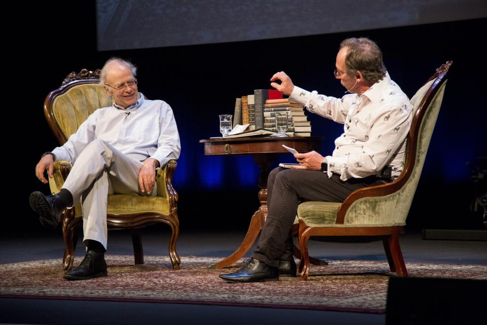 Animal-rights philosopher Peter Singer and theoretical physicist Lawrence Krauss