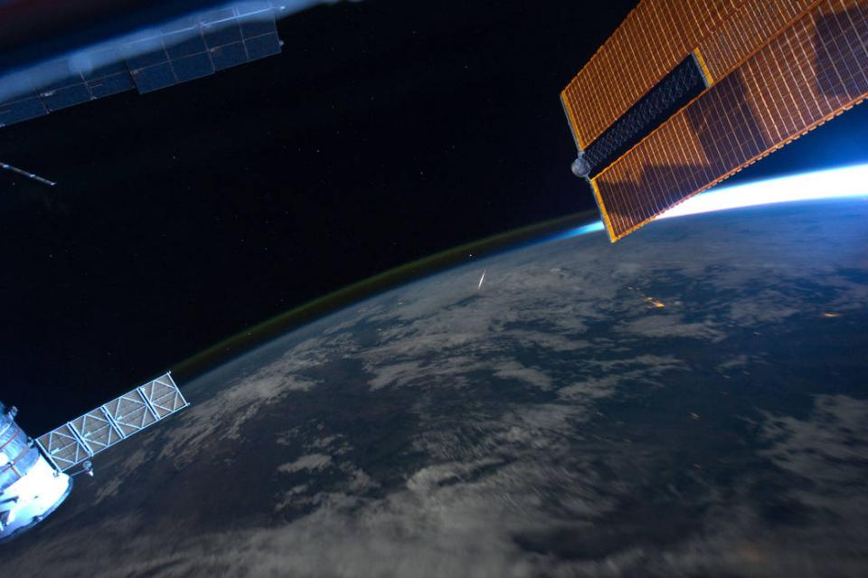 A photo of a meteor taken from the International Space Station.