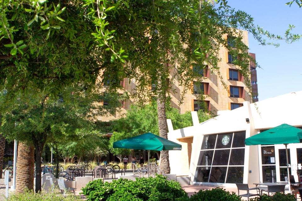 Exterior photo of Starbucks store on campus