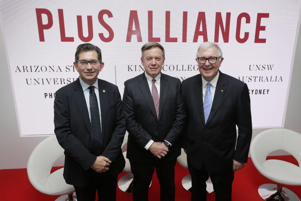 A photograph of (from left) Ian Jacobs of UNSW Australia, ASU President Michael Crow and Edward Byrne of King's College London, and
