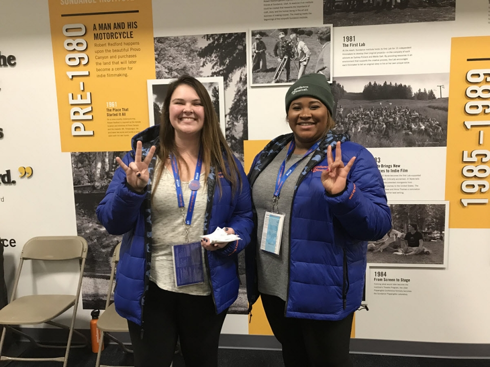2018 ASU Sundance interns Madison Schaffer and Destiny Liley show their Sun Devil loyalty while dressed for Park City winter weather. Photo courtesy Kevin Sandler.